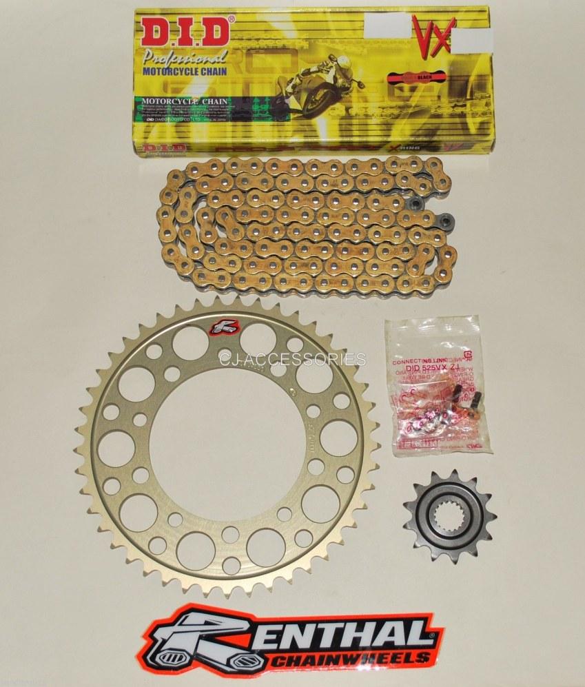 DID Gold 520 Pitch Chain & Renthal Sprocket Conversion Kit Suzuki SV650 99-15 Race & Track Bikes
