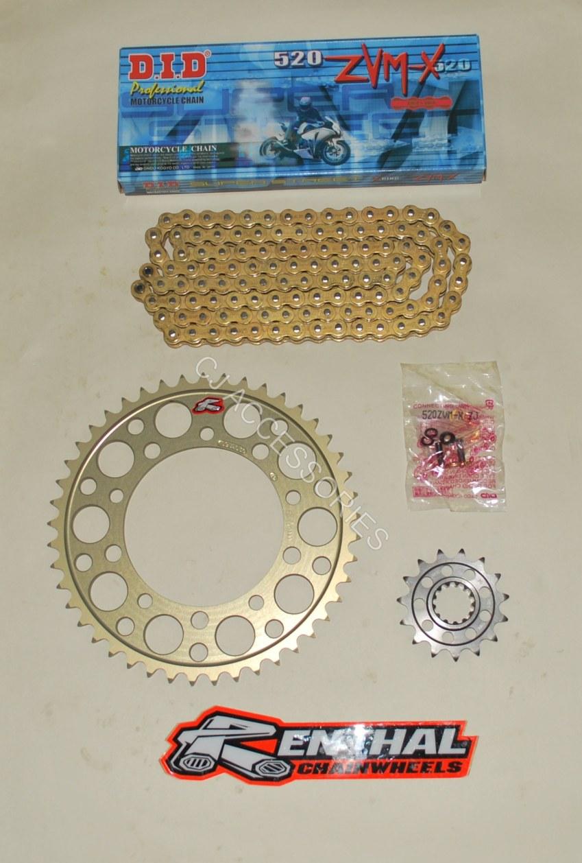 DID Gold 520 Pitch Chain & Renthal Sprocket Conversion Kit Suzuki GSXR1000 K1-K8 01-08 Race & Track Bikes