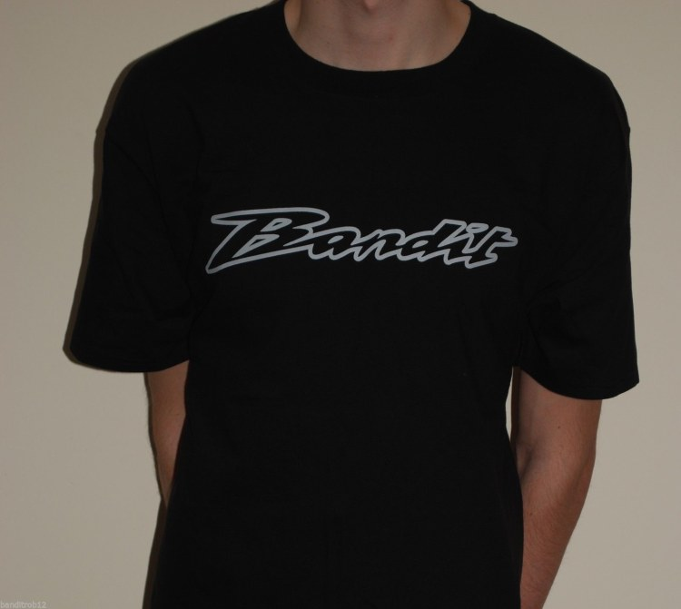 Mens T-Shirt Black with Grey Bandit Logo