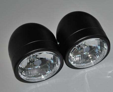 Matt Black Dominator Twin Round Headlights