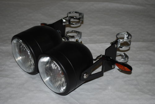 Black or Chrome Twin Headlights with Bracket & Indicators Bandit GSF650 GSF600 GSF400 SV650 Hornet