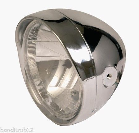 "Universal Chrome 6.5"" Motorcycle Headlight E-Marked RIGHT HAND BEAM Streetfighter Cafe Racer"