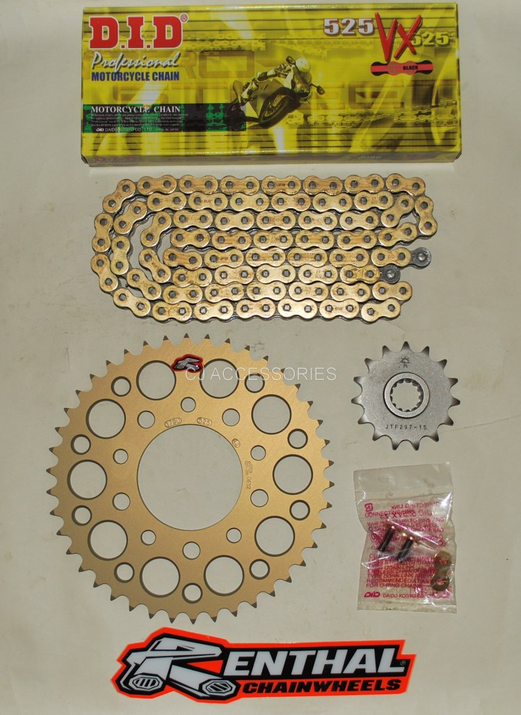 Honda CB500 94-03 DID Gold Chain & 42 Tooth Renthal Sprocket Kit Race Track Bike