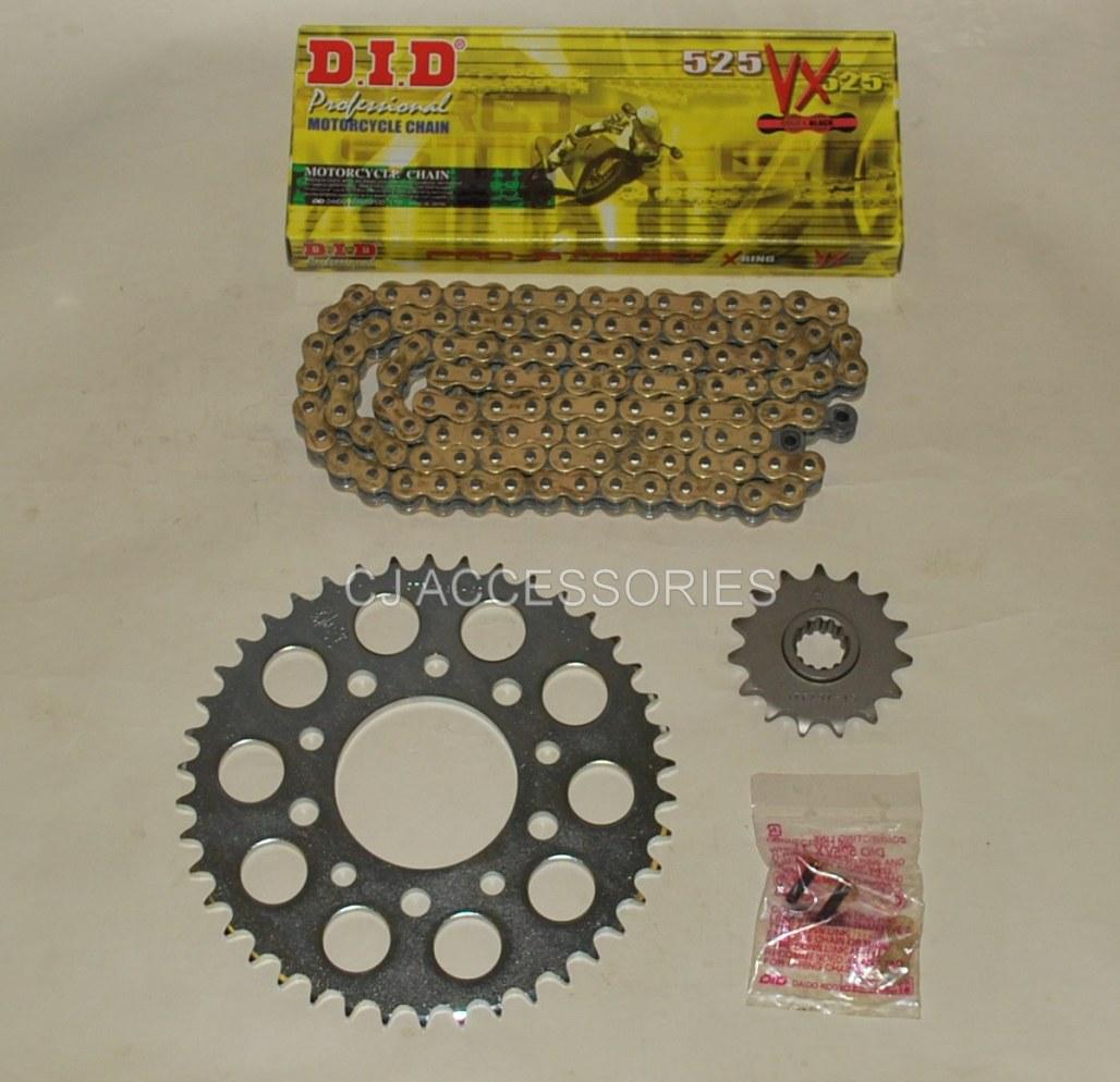 Honda CB500 94-03 DID Gold Chain & 42 Tooth Silver JT Sprocket Kit Race Track Bike