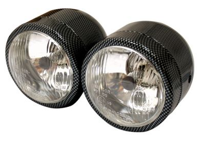 Carbon Look Dominator Twin Round Headlight Set