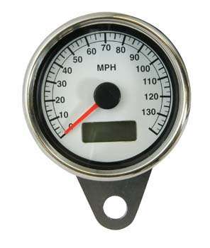Universal Chrome LED Illuminated Speedo Speedometer MPH Ratio 2:1