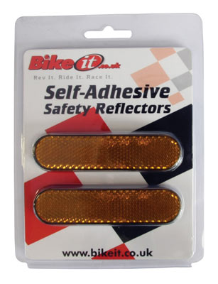 Pack of 2 Self Adhesive Safety Reflectors - Red or Amber