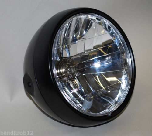 "Universal Black 6.5"" Motorcycle Headlight  E-Marked RIGHT HAND BEAM Streetfighter Cafe Racer"