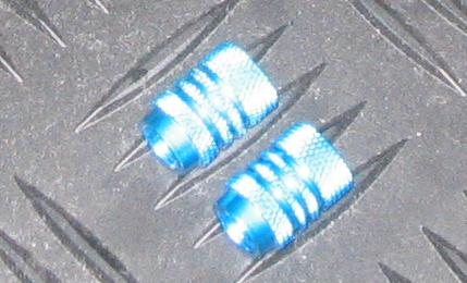 Pair of Anodised 'Rippled' Valve Caps