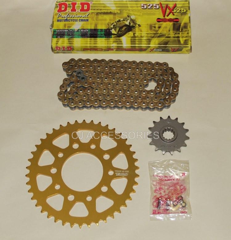 Honda CB500 94-03 DID Gold Chain & 42 Tooth Talon Sprocket Kit Race Track Bike