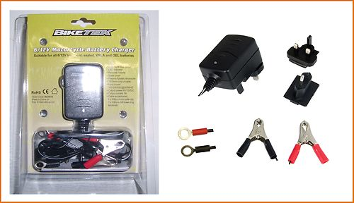 6V 12V Motorcycle Battery Trickle Charger with Auto Cut Off