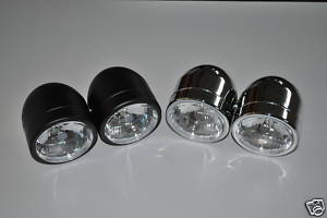 Dominator Twin Round Headlight Set - Black or Chrome
