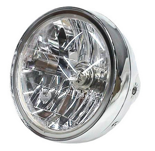 Universal Chrome 7&quot; Motorcycle Headlight Headlamp Unit - Metal Body E-Marked