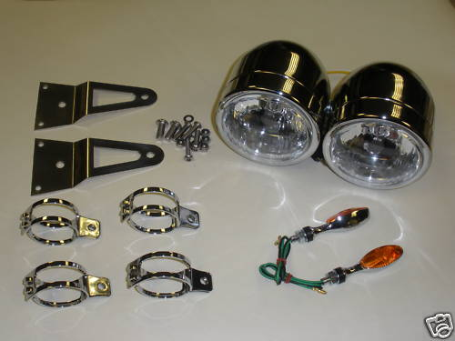 Black or Chrome Twin Headlights with Bracket & Indicators - Upside Down 50mm Forks eg GSXR