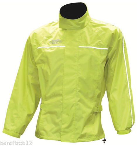 Oxford Rainseal All Weather Fluorescent Fluro Motorcycle Over Jacket Waterproof