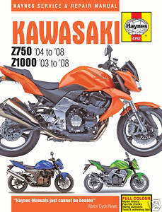 Haynes Service & Repair Manual Kawasaki Z750 Z1000 03-08