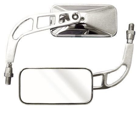 High Quality Chrome Knight Rectangular Mirrors - 10mm